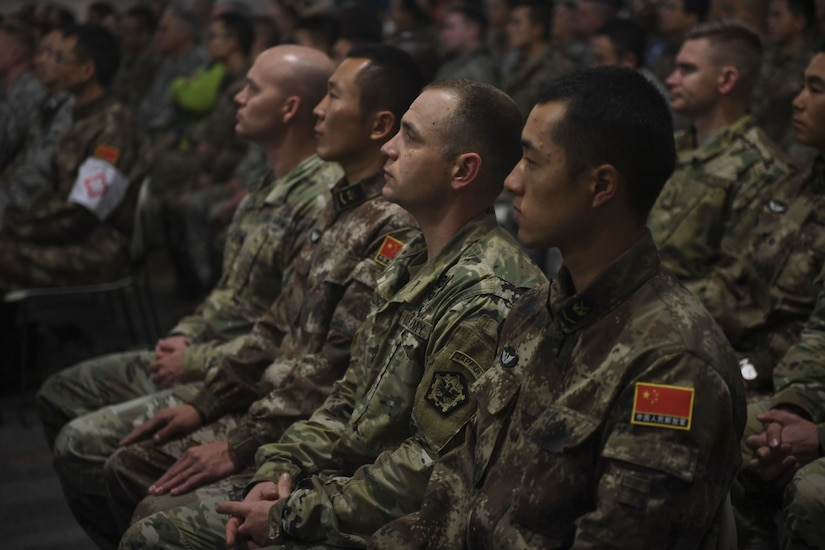 Participants listen to remarks during the opening ceremony of the 2017 U.S.-China Disaster Management Exchange at Camp Rilea, Ore.