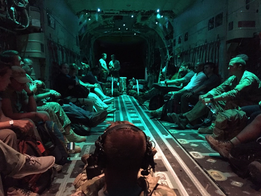 Air Force Special Operation Medics returning from St. Maarten aboard a U.S. Air Force aircraft after assisting in relief and recovery efforts from Hurricane Irma. (U.S. Air Force photo by Tech. Sgt. Marc Villano)