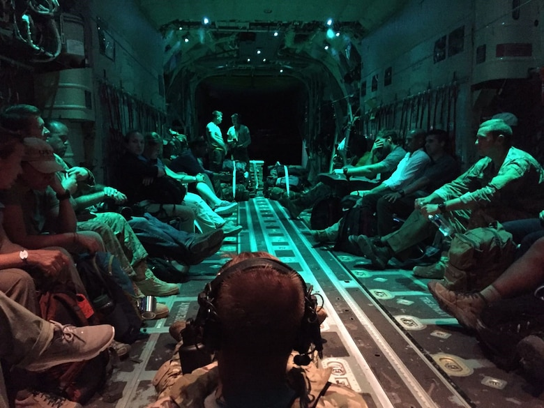 Air Force Special Operation Medics returning from St. Maarten aboard a USAF aircraft after assisting in relief and recovery efforts from Hurricane Irma. (U.S. Air Force photo/Tech. Sgt. Marc Villano, AFSOC)