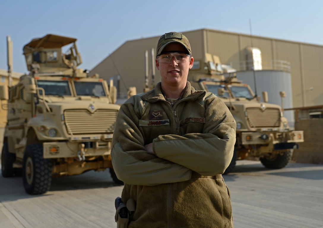Senior Airman Maria Joyce, 455th Expeditionary Security Forces Squadron Echo sector command controller, poses for a photo Nov. 22, 2017 at Bagram Airfield, Afghanistan.