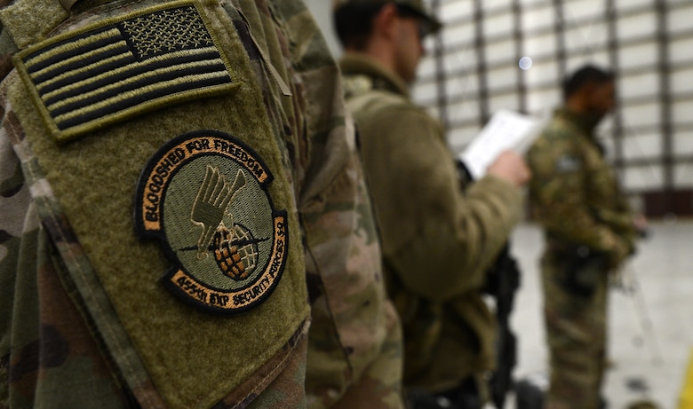 A 455th Expeditionary Security Forces Squadron patch is worn on a uniform Nov. 22, 2017 at Bagram Airfield, Afghanistan.