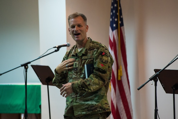 Maj. Gen. Dondi Costin, Air Force Chief of Chaplains, gives a thanksgiving message at the interfaith thanksgiving service, at an undisclosed location in Southwes Asia, Nov. 22, 2017. Costin visited multiple locations during his visit to Southwest Asia over the Thanksgiving holiday. (Air Force photo by Staff Sgt. William Banton)