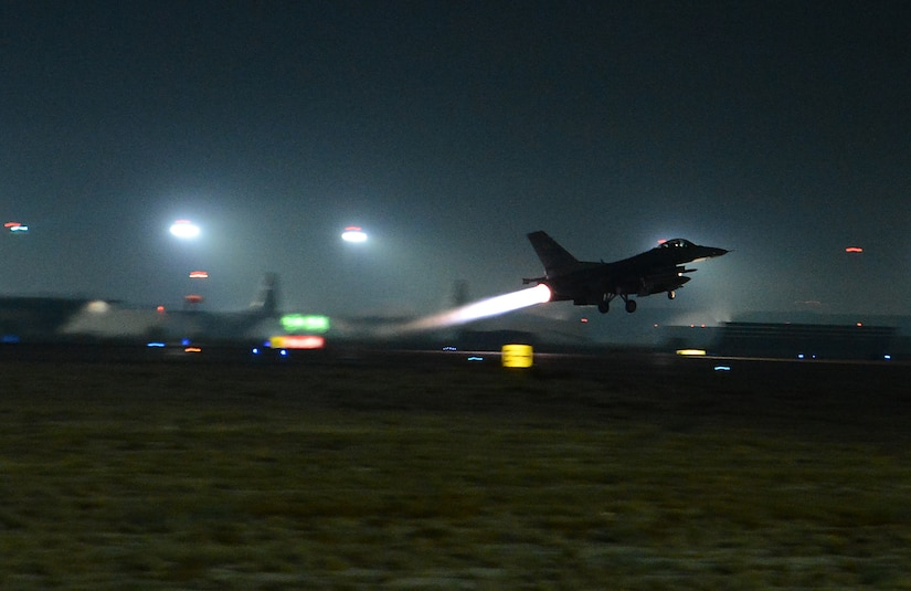 An F-16 fighting falcon assigned to the 77th Fighter Squadron, takes off Nov. 21, 2017 at Bagram Airfield, Afghanistan. The launch was used in support of a new offensive campaign. Afghan National Defense and Security Forces (ANDSF) and United States Forces-Afghanistan (USFOR-A) launched a series of ongoing attacks to hit the Taliban where they are most vulnerable: their revenue streams. Together, Afghan and U.S. forces conducted combined operations to strike drug labs and command-and-control nodes in northern Helmand province. These types of strikes represent the highest level of trust and cooperation between ANDSF and USFOR-A. (U.S. Air Force photo/Staff Sgt. Divine Cox)