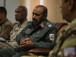Brig. Gen. Safi, the Helmand Province Chief of Police, weighs-in during a security shura at Bost Airfield, Afghanistan, Nov. 16, 2017. The Afghan National Defense and Security Force key leaders talked about Maiwand seven, eight, and future operations, all with a goal to increase stability throughout the province in preparation for the elections in 2018. (U.S. Marine Corps photo by Sgt. Justin T. Updegraff)