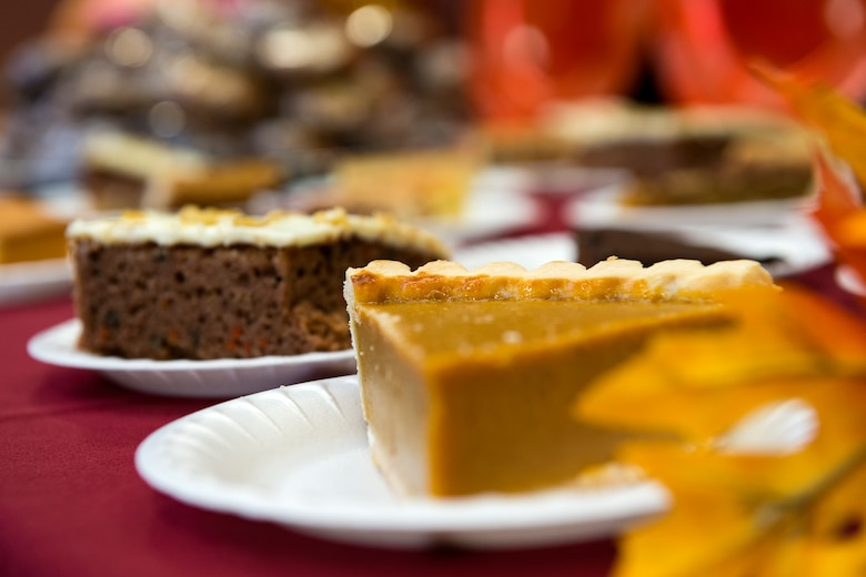 Desserts rest on a table on Thanksgiving Day in the Georgia Pines Dining Facility, Nov. 23, 2017, at Moody Air Force Base, Ga. The Thanksgiving Day meal was an opportunity for Airmen, retirees, dependents and leadership to enjoy a traditional Thanksgiving meal. (U.S. Air Force photo by Airman 1st Class Erick Requadt)