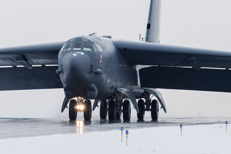 A B-52H Stratofortress assigned to Air Force Global Strike Command (AFGSC) taxis down the runway at Minot Air Force Base, N.D., Nov. 4, 2017, during exercise Global Thunder 18. Exercise Global Thunder is an annual command and control and field training exercise designed to train Department of Defense forces and assess joint operational readiness across all of USSTRATCOM's mission areas, with a specific focus on nuclear readiness. (U.S. Air Force photo by Senior Airman J.T. Armstrong)
