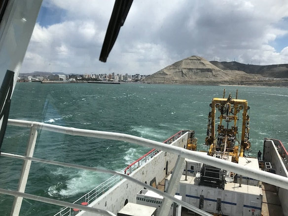 The motor vessel Sophie Siem gets underway from Comodoro Rivadavia, Argentina