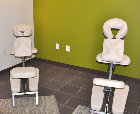 Two chairs for massaging.