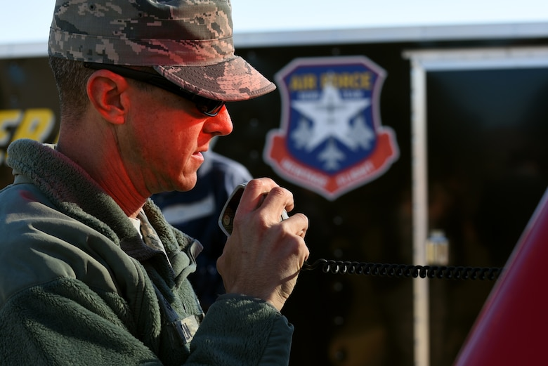 U.S. Air Force Master Sgt. Ronald Nowlin, 20th Civil Engineer Squadron assistant chief of operations, speaks into a radio during a major accident response exercise at Shaw Air Force Base, South Carolina, Nov. 17, 2017.