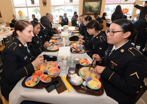 Soldiers from the Army Medical Department Center & School at Joint Base San Antonio-Fort Sam Houston were served Thanksgiving dinner by Maj. Gen. Brian C. Lein, Commanding General, Army AMEDDC&S, and AMEDDC&S Command Sgt. Maj. Buck O'Neal at the Rocco Dining Facility at JBSA-Fort Sam Houston Nov. 23.