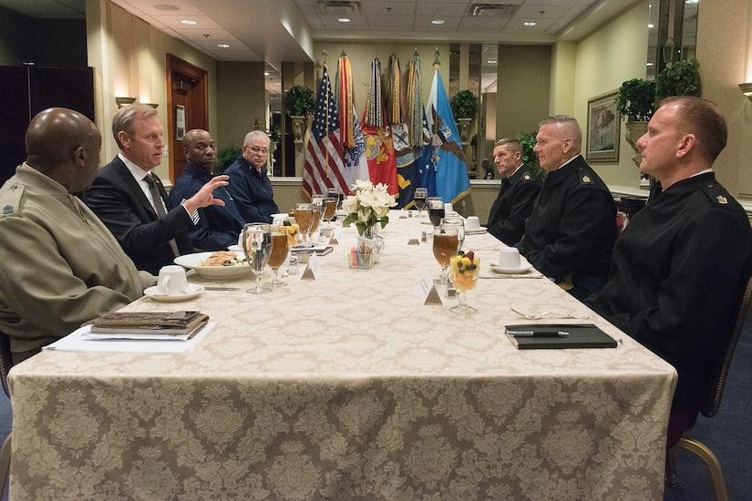Deputy Defense Secretary Patrick M. Shanahan speaks to service senior enlisted advisors