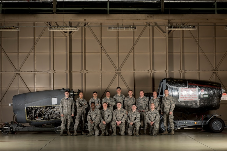 The last 374th Maintenance Squadron propulsion flight poses for a photo Nov. 17, 2017, at Yokota Air Base, Japan.