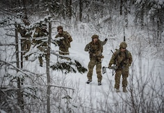 Soldiers assigned to the 716th Explosive Ordnance Disposal Company conduct mass-casualty search-and-rescue training at Joint Base Elmendorf-Richardson, Alaska, Nov. 21, 2017. During the exercise, JBER Airmen and Soldiers located, assessed, treated and evacuated numerous casualties while engaging and eliminating multiple attacks from opposition forces. (U.S. Air Force photo by Senior Airman Curt Beach)