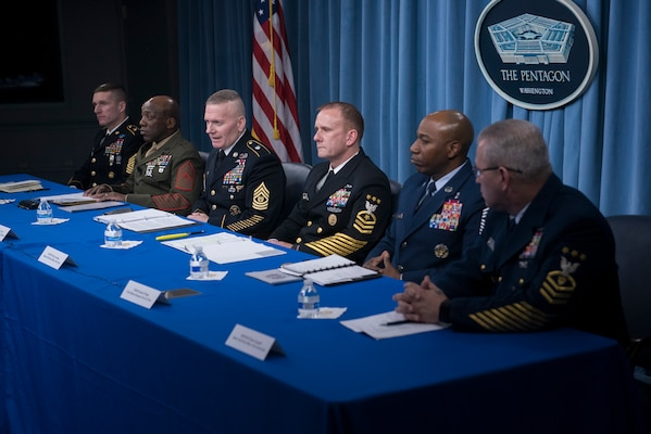 Army Command Sgt. Maj. John W. Troxell, senior enlisted advisor to the chairman of the Joint Chiefs of Staff, and the service senior enlisted leaders speak to media during a press availability in the Press Briefing Room at the Pentagon in Washington, D.C., Nov. 27, 2017. (DOD photo by Navy Petty Officer 1st Class Dominique A. Pineiro)