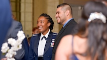 First Lt. Kristin Hood and Michael Ricondo, 91st Cyberspace Operations Squadron, enjoy the evening at the 91st COS centennial dinner in San Antonio, Oct. 28, 2017. Members of the 91st COS gathered during a formal dining out event to celebrate the squadron's anniversary, and enjoy fine food and company. (Courtesy photo)