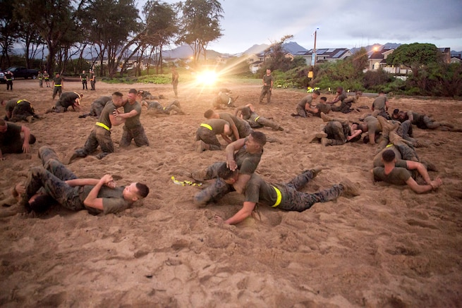 Marines practice hand to hand fighting on a beach.