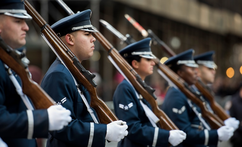 Honor Guardsmen march in parade