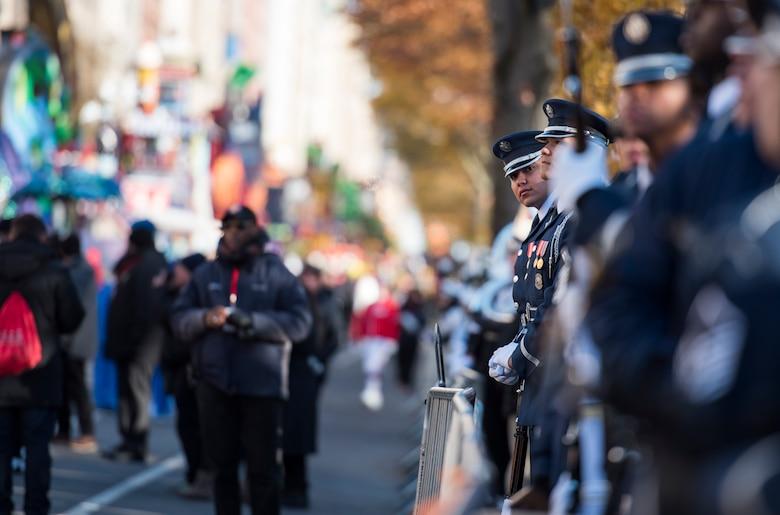 Guardsman looks down parade line