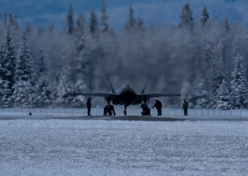 The Lockheed Martin's F-35A test crew is conducting testing on Eielson Air Force Base, Alaska, to certify the aircraft's ability to taxi and land on an icy runway.