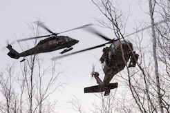 Two Alaska Army National Guard UH-60 Black Hawk helicopters from the 1st Battalion, 207th Aviation Regiment, approach a mock evacuation site while participating in a mass-casualty training event at Joint Base Elmendorf-Richardson, Alaska, Nov. 21, 2017.