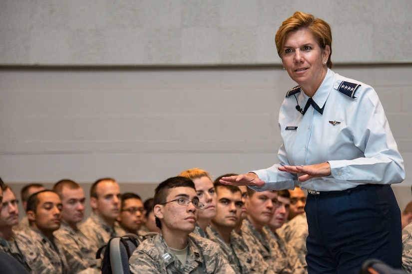 The commander of U.S. Northern Command and North American Aerospace Defense Command, addresses cadets.