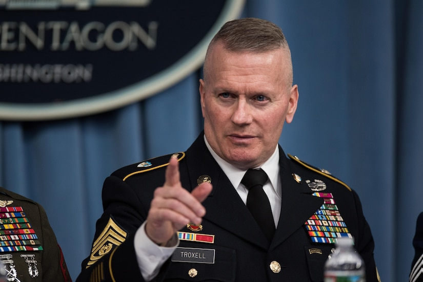 Army Command Sgt. Maj. John W. Troxell, senior enlisted advisor to the chairman of the Joint Chiefs of Staff, makes a point as he and the senior enlisted leaders for the U.S. combatant commands brief Pentagon reporters at the conclusion of a conference, Nov. 28, 2017. DoD photo by Army Sgt. Amber I. Smith