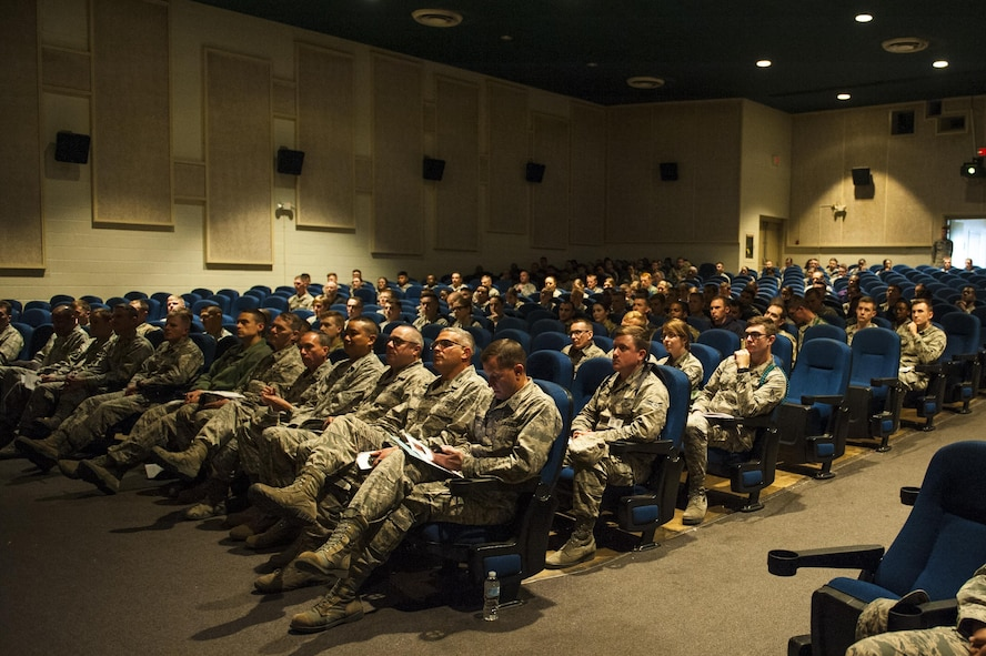 The audience for the Islamic State of Iraq and the Levant panel discussion at the Base Theater on Goodfellow Air Force Base, Texas, Nov. 20, 2017. After the lectures, the panel opened to questions. All questions asked were about Islamic extremism, specifically the Islamic State of Iraq and the Levant, and the future of Islamic extremism in the West. (U.S. Air Force photos by Senior Airman Scott Jackson/Released)