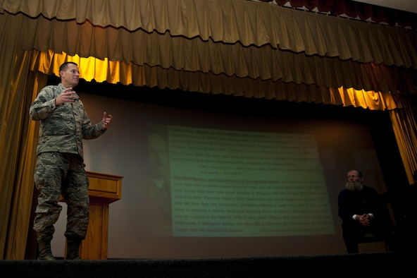 U.S. Air Force Col. Jeffery Sorrell, 17th Training Wing vice commander, gives closing remarks after a panel discussion on the Islamic State of Iraq and the Levant at the Base Theater on Goodfellow Air Force Base, Texas, Nov. 20, 2017. Sorrell mentioned the importance for intelligence professionals to have knowledge of their enemy and thanked Dr. Yahya Michot, Hartford Seminary professor, and Anthony Celso, Angelo State University professor of security studies, for their time and coined them. (U.S. Air Force photo by Senior Airman Scott Jackson/Released)