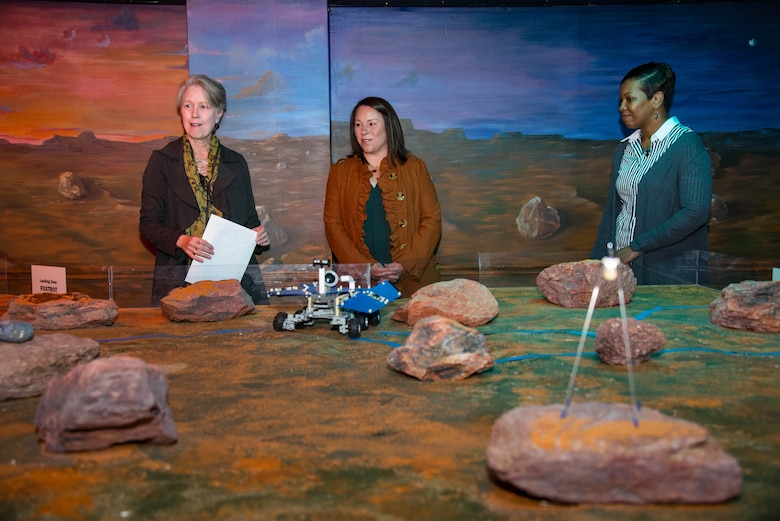 Ann Sikes, President of Montgomery Education Foundation, left, Congresswoman Martha Roby, U.S. Representative for Alabama's Second Congressional District, center, and Princess Cuthrell, Department of Defense STARBASE Maxwell, tour the Mars Room during Roby's first visit to STARBASE Maxwell, Nov. 27, 2017, Maxwell Air Force Base, Ala. Roby visited STARBASE Maxwell to become familiar with the program and the benefits it brings to the community. STARBASE Maxwell students use the Mars Room to build and test their robots. (U.S. Air Force photo by Melanie Rodgers Cox/Released.)