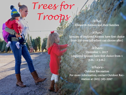 A family picks a Christmas tree during Ellsworth's ninth annual Trees for Troops event Dec. 2, 2016. This year was Thompson's first time participating in the program, and says it was a wonderful feeling being able to have a Christmas tree. (U.S. Air Force photo illustration by Senior Airman Denise M. Jenson)