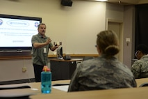 Roger Nelson, Health Promotion coordinator, leads a class about the programs now being offered at the new Health Promotion office, formerly the Health and Wellness Center, at the 55th Medical Groups education center on Nov. 22, 2017 on Offutt Air Force Base, Neb.