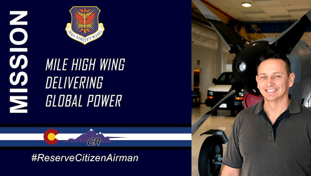 """Master Sgt. Danny Amparan is a Reserve Citizen Airman with the 302nd Maintenance Group. As a quality assurance propulsion inspector, Amparan strives to ensure the overall mission success and safety of flying missions executed by the 302nd Operations Group. """"What drives me is making sure our pilots and maintainers are safe,"""" said Amparan. """"The safety checks I provide are the lifeline to the mission and the reservists flying it."""""""