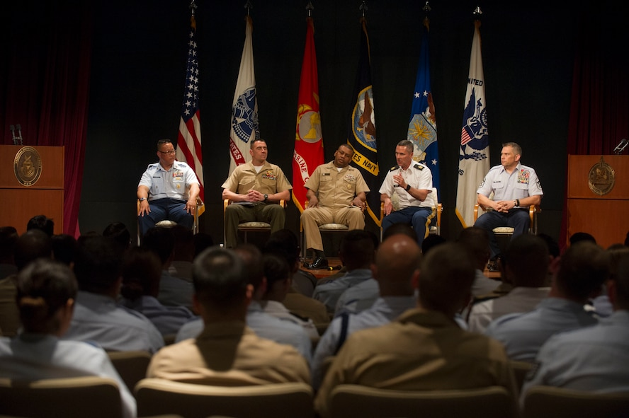 Joint Force Headquarters-National Capital Region / Military District of Washington Command Sgt. Maj. Paul E. Biggs (2nd from right) participates in a joint senior leader enlisted panel along with senior enlisted leaders from the other branches of service during a joint Non-Commissioned Officer professional development seminar at Fort Lesley J. McNair, Washington D.C., May 19, 2017. Selected NCOs from the National Capital Region attended the week long seminar. (Photo by Senior Master Sgt. Adrian Cadiz)(Released)
