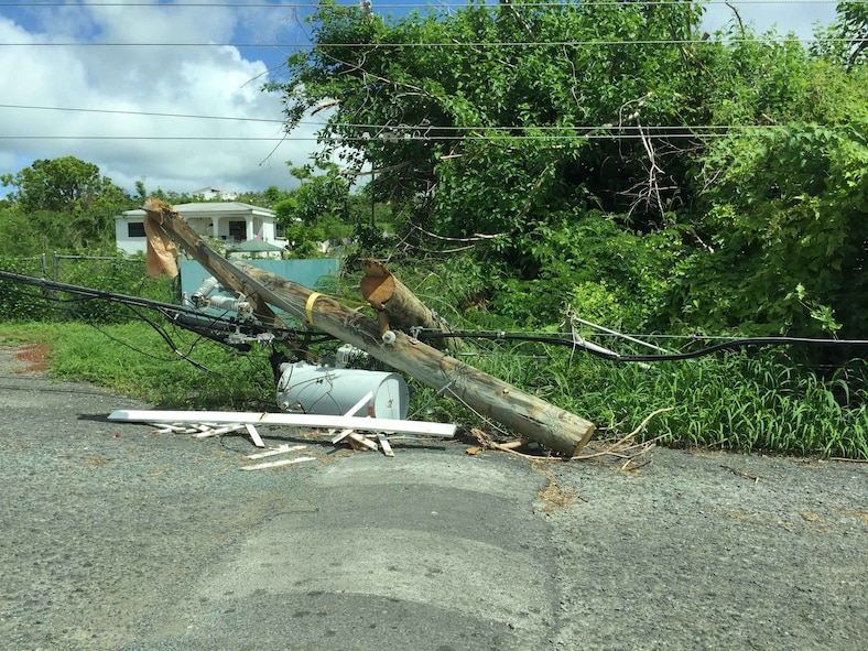 "Fallen power lines and uprooted trees litter the streets of St. Croix where Claudette Wells, an acquisition program manager for the Air Force Technical Applications Center, Patrick AFB, Fla., volunteered to serve as a disaster relief worker for the Federal Emergency Management Agency after Hurricane Maria impacted the island.  ""The damage was unimaginable,"" said Wells.  (U.S. Air Force photo by M. Claudette Wells)"