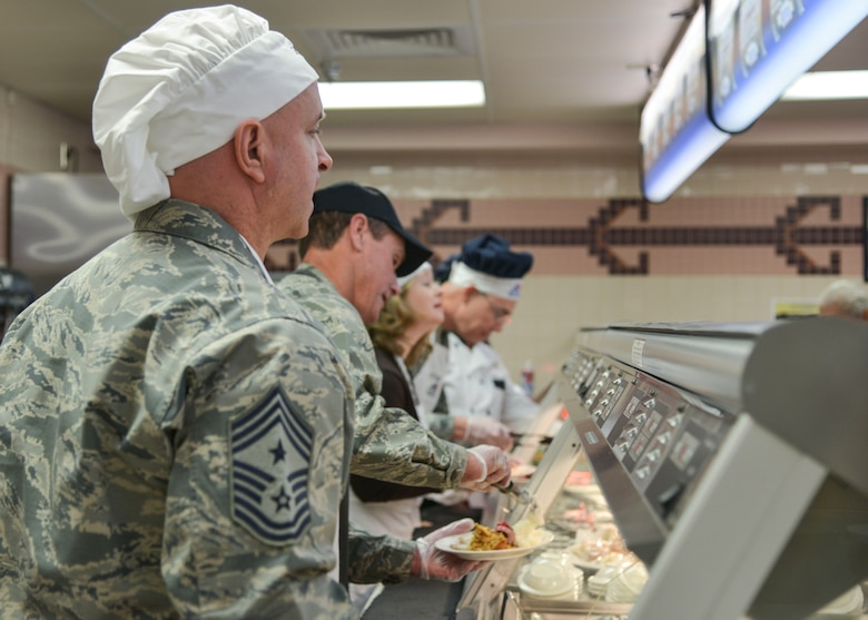 Several commanders and command chiefs took a shift serving meals at the Thunderbird Inn Dining Facility on Thanksgiving to show their appreciation to all Airmen, retirees and their families.