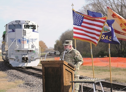 Fort Riley garrison commander Col. John D. Lawrence speaks to an audience during Union Pacific Salute to the Military Nov. 6 near the First Territorial Capitol building. Union Pacific is touring the country with Locomotive No. 1943, The Spirit, which honors the armed forces.