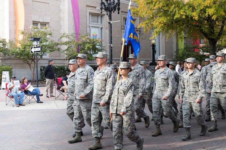 Pope Airmen join 2017 Fayetteville Veterans Day Parade
