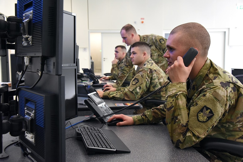 REDSTONE ARSENAL, Ala. -- C Company, 53rd Signal Battalion Soldiers provide global wideband payload control, transmissions control and defensive space control at a Wideband Satellite Communications, or SATCOM, Operations Center. (U.S. Army photo by Carrie David Campbell)