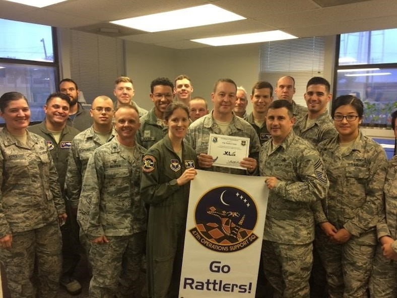 "Tech. Sgt. Matthew Smith, 47th Operations Support Squadron radar airfield and weather systems maintenance NCO in charge, was chosen by wing leadership to be ""XLer of the week"", for the week of Nov. 13, 2017. The ""XLer"" award, presented by Col. Michelle Pryor, 47th Flying Training Wing vice wing commander, is given to those who consistently make outstanding contributions to their unit and the Laughlin mission."