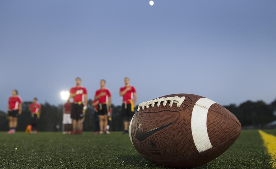 Intramural football action