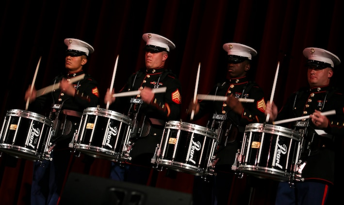 "Percussionists with Marine Corps Band New Orleans perform on stage during their holiday concert, ""Santa Meets Sousa,"" at Saenger Theater in New Orleans on Dec. 11, 2015."
