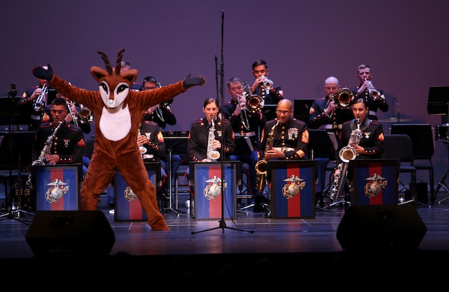 Rudolph joins Marine Corps Band New Orleans on stage at Saenger Theater in New Orleans on Dec. 11, 2015.