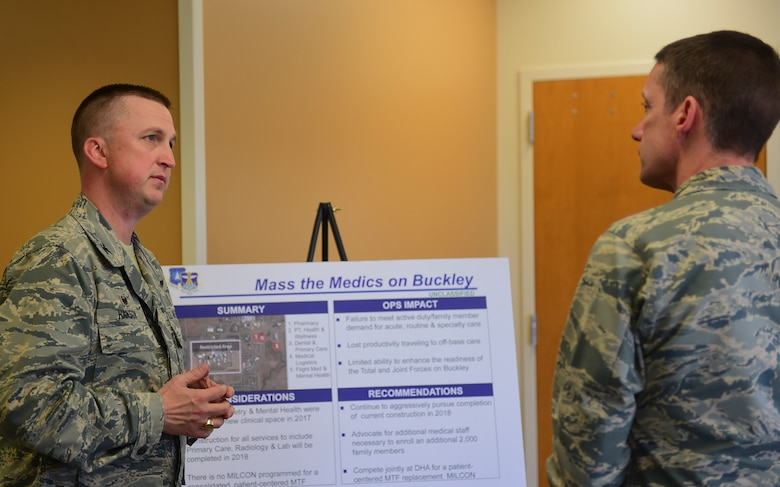 Col. Matthew Hanson, 460th Medical Group commander, briefs the Mass the Medics initiative to Maj. Gen. Robert. J. Skinner, Air Force Space Command deputy commander, during his visit to Buckley Air Force Base Nov. 29, 2017, at the Buckley AFB Dental Clinic.