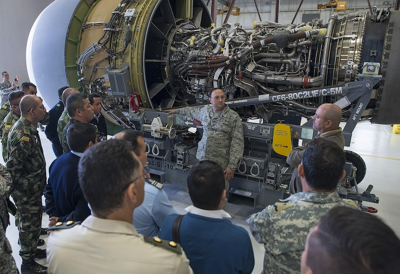 The students also visited the fabrication and sheet metal shop before touring a C-5M Super Galaxy aircraft.