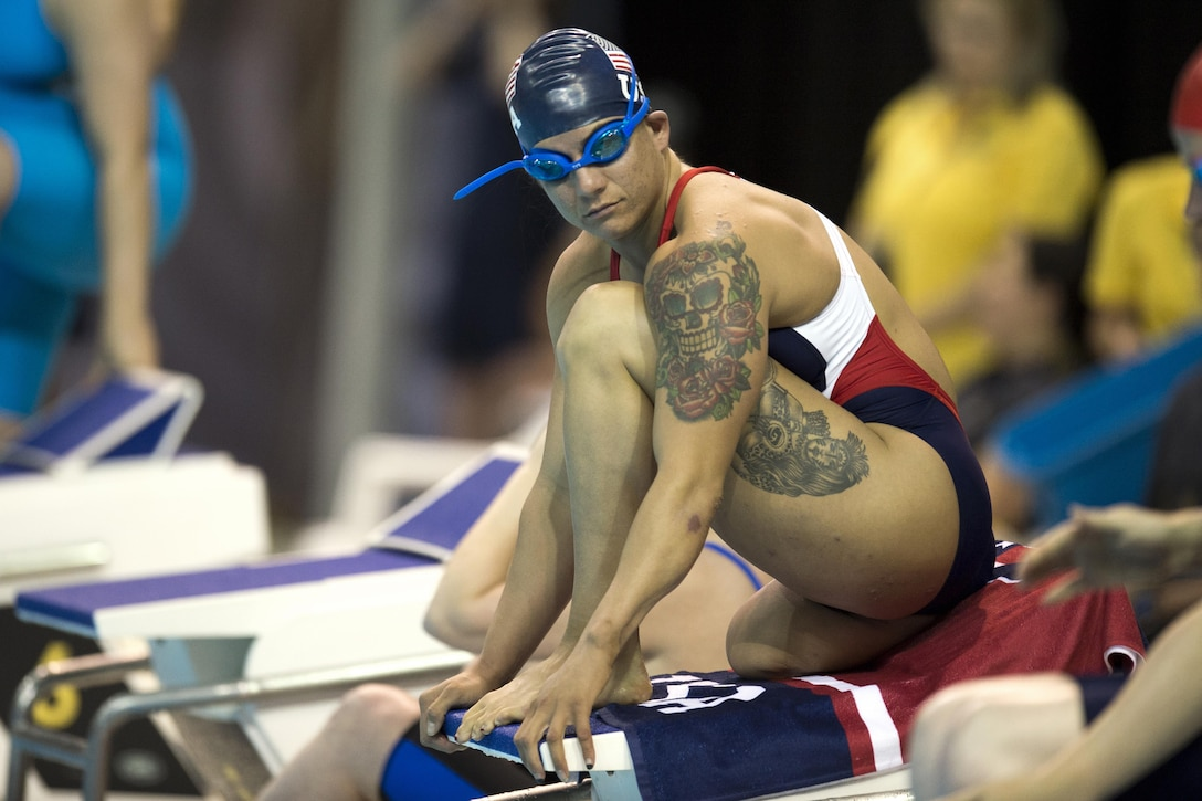 Medically retired Air Force Staff Sgt. Sebastiana Lopez-Arellano readies for a swimming event during the 2017 Invictus Games in Toronto, Sept. 29, 2017. DoD photo by EJ Hersom