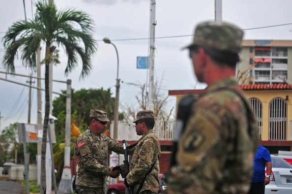 Military Police soldiers from the Puerto Rico National Guard continue to help local authorities by providing security to public places such as gas stations and hospitals around the island, Sept. 30, 2017. The guardsmen are working to ensure the safety and security of all citizens during Hurricane Maria response and recovery operations. Puerto Rico Army National Guard photo by Spc. Agustín Montañez