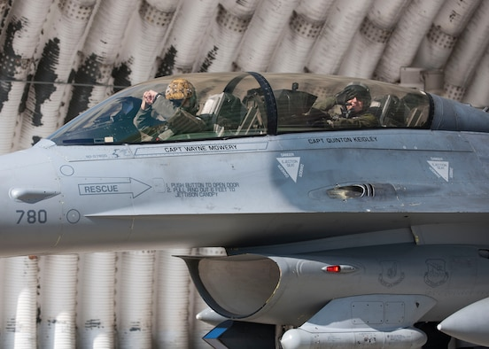 U.S. Air Force Gen. Robin Rand, Air Force Global Strike Command commander, sits in the cockpit of an F-16 Fighting Falcon with Capt. William Baker, 80th Fighter Squadron F-16 instructor pilot, before take off at Kunsan Air Base, Republic of Korea, Sept. 28, 2017. Rand is an F-16 pilot with more than 470 combat hours and a former member of the Wolf Pack as Wolf 42. (U.S. Air Force photo by Staff Sgt. Victoria H. Taylor)