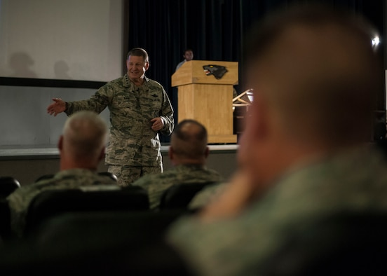 U.S. Air Force Gen. Robin Rand, Air Force Global Strike Command commander, speaks to Airmen during an all call at Kunsan Air Base, Republic of Korea, Sept. 27, 2017. Rand, a former 8th Fighter Wing commander affectionately known as Wolf 42, recounted the heritage of the Wolf Pack and the U.S. Air Force with a charge to Airmen to not only embrace heritage, but also continue to make a difference and write history. (U.S. Air Force photo by Staff Sgt. Victoria H. Taylor)