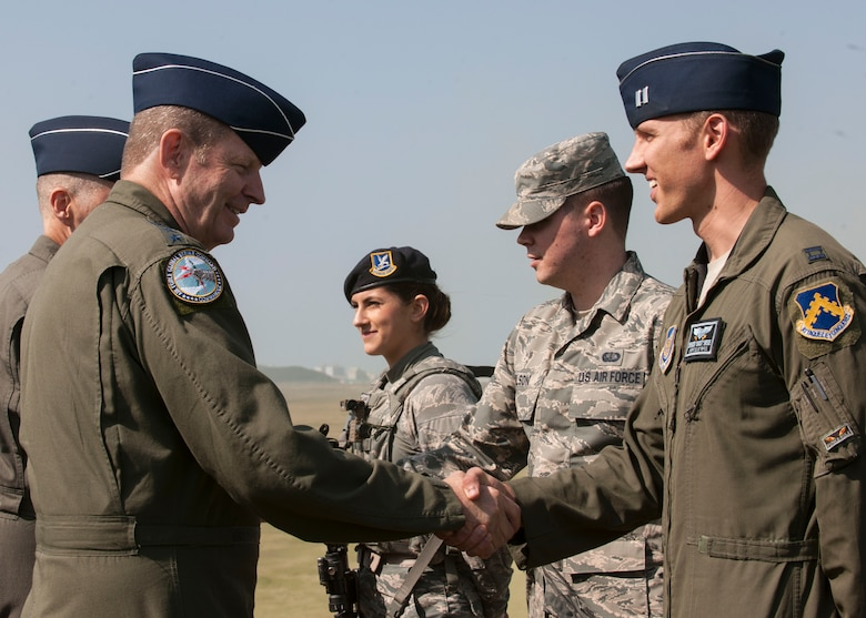 U.S. Air Force Gen. Robin Rand, Air Force Global Strike Command commander, meets with Airmen while touring Kunsan Air Base, Republic of Korea, Sept. 28, 2017. During the three-day visit Rand saw first-hand the current mission capabilities of the Wolf Pack and how its Airmen carry out the missions of defending the base, accepting follow-on forces and taking the fight north. (U.S. Air Force photo by Staff Sgt. Victoria H. Taylor)