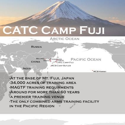 CATC Camp Fuji is located at the base of the highest mountain in Japan, Mount Fuji, and is a premier training venue that is used by U.S. armed forces and the Japan Self-Defense Force. It is 34,000 acres of training area, and is the only combined arms training facility in the Pacific Region.